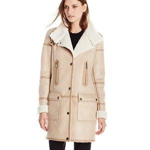 Shearling and faux fur sherpa coat Tahari